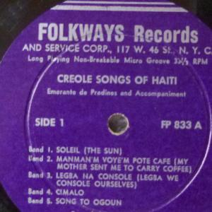 Creole Songs of Haiti record photo. All rights reserved.