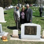 Jane james monument with Darius Gray, Margaret Young, and Louis Duffy