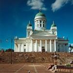 a public square behind which sits a church
