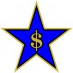 A five-pointed star with a dollar sign centered within it.