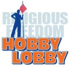 "a male sillouhette with a flag standing in front of the words ""Religious Freedom, Hobby Lobby."""