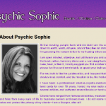 A screenshot of Psychic Sophie's website.