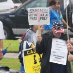 Protesters in Pensacola support highschool educators on September 17, 2009. The educators are on federal trial following the ACLU charge that they prayed in school. (Photo: Cheryl Casey / Shutterstock.com)