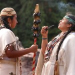 Marine Sisk with her mother Caleen Sisk, Chief and Spiritual Leader of the Winnemem Wintu.