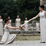 Torch lighting ceremony in Greece. (Associated Press)