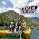 Winnemem Wintu Tribe members blockading the river.