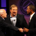 John McCain, Rick Warren, and Barack Obama.