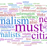 A journalism word cloud.