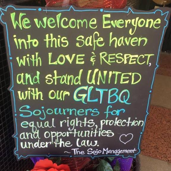 This sign was posted by our front door in response to HB2, and will stay there until it is overturned. Photo by Heron