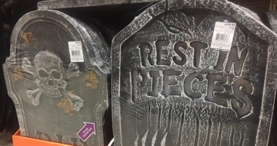 Styrofoam headstones at my local Michael's Craft Store, Greenville, NC.