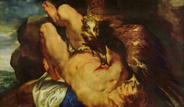 Peter Paul Rubens (1611-1612) Zeus punishes Prometheus having him bound to a rock while a great eagle ate his liver.