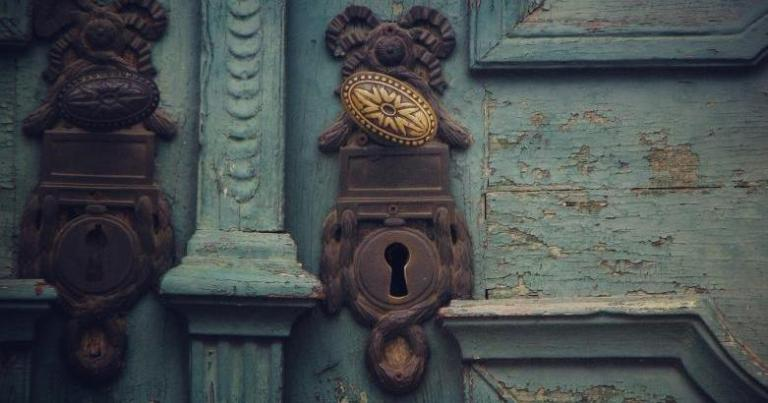 Old door with antique keyhole