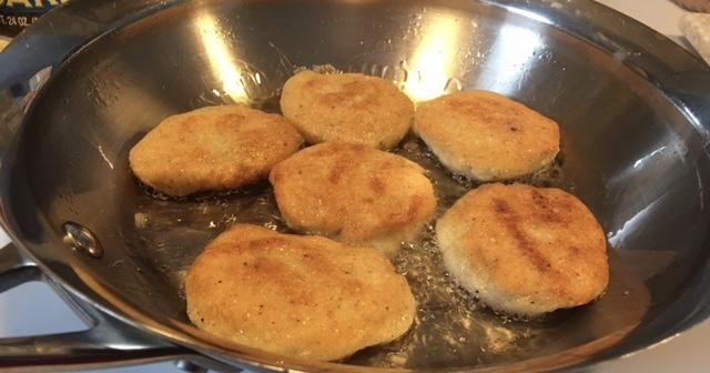 Fried Cornbread in the pan - Heron Michelle