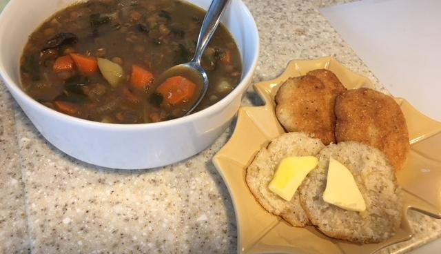 Lentil Soup with Stormy's Fried Cornbread - Photo by Heron Michelle