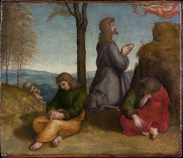 "Raphael's ""The Agony in the Garden."" Raphael's work, known for its sweetness, has fallen out of favor in modern times. The Metropolitan Museum of Art. Reproduced by permission."