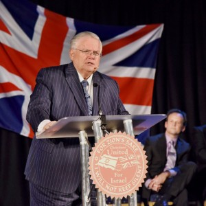 Source: CUFI. John Hagee speaking at the launch event in London in June 2015