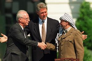 Rabin, Clinton and Arafat at the Oslo Accords signing in Washington in 1993.