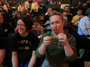 Tim is astounded by his bat-fetti.