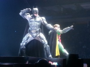 Batman and Robin get ready to fight right in front of us!