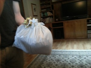 My bro's gift to me...crap wrapped like a pro: in a plastic bag.