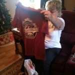 Mom got a Razorback shirt. My family often goes to El Chico to watch hog games and eat dinner. This shirt will serve her well.