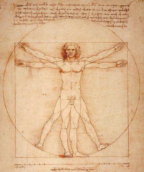 Vitruvian Man, by Leonardo DaVinci.
